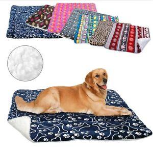 Crushed Velvet Dog Bed Winter Warm Dog Sofa Cushion Fleece Mat Blanket S M L XL