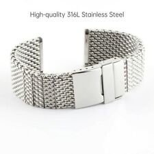 22mm For BREITLING Watch Mesh Stainless Steel Bracelet Strap Band Silver