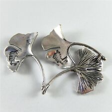 11pcs Antique Silver Tone Ginkgo Leaf Look Alloy Pendants Charms Findings 52354