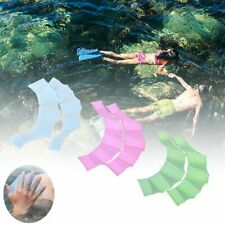 Silicone Blue Swimming Flippers Hand Swim Web Glove Fins Paddle Dive Finger