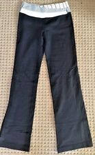 LULULEMON ASTRO PANTS Black w Gray Angel Wing Stripe Waist Yoga Gym size 6 EUC