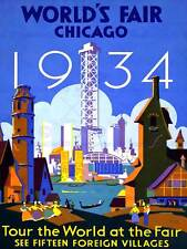 EXHIBITION WORLD FAIR CHICAGO 1934 CULTURAL USA VINTAGE POSTER ART PRINT 861PY