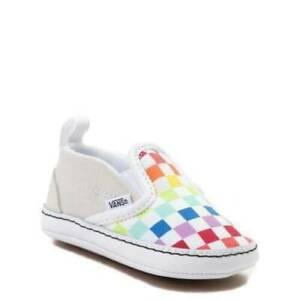 Vans Slip on V Crib Baby Soft Shoes Checker Rainbow  100% Authentic