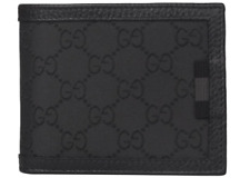 "Gucci Men's Black Leather And Nylon Canvas ""GG"" Bi-Fold Wallet"
