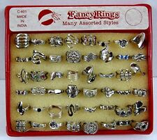 48 Colorful Asst Style Silver Rings Gumball Vending Machine Disp Card #108