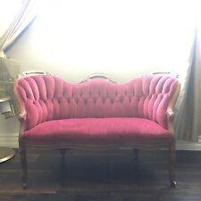 19th C Vintage Estate Antique Victorian tufted back velvet sofa loveseat settee