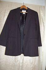 Oscar de la Renta Black Wool Blend Blue Pinstripes Blazer Jacket Size 12 P