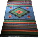 VTG Handwoven Wool Aztec Cozumel Mexico Multicolored Mat Rug Tapestry Blanket
