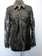 ROBERT RODRIGUEZ Black Long Sleeves Lace Button Front Sheer Blouse Sz 8 DD4956