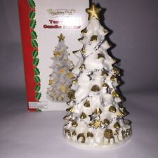 Vintage white gold Christmas tree candle tea light holder With Charms 8 Inchs