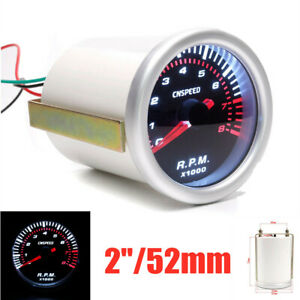 12V 2''/52mm Car Modified Instrument Tachometer With White LED Light 0-8000 RPM