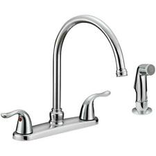 Kitchen Faucet With Sprayer Head 2 Handles Stainless Steel Certified Safety NEW