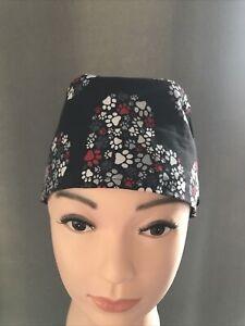 100% Cotton Paw Print Theme Scrub Cap With Mask Buttons L/XL