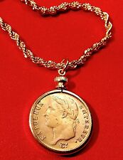 1811 Napoleon French 20 Francs Gold Plated Coin Pendant & Rope Chain Necklace!