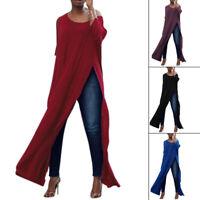 Women Off Shoulder Casual High Split Crop Tops Fashion Long Maxi Shirt Blouse