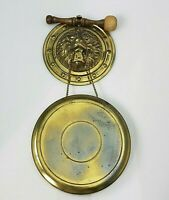 Vintage Brass Repousse Lion Head Dinner Gong With Striker Mallet Wall Hanger