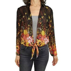 CHICOS 0 S xs Silk Open Front Tie Closure Floral Long Sleeve Sheer Fall Colors