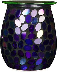 Large Glass Mosaic Aroma Lamp Purple Sequin - Wax Melt burner UK Plug