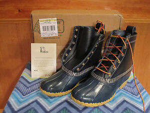 "Women LLBEAN Boots 8"" THINSULATE Snow Rain Mud Duck Raven Blue Rubber/Leather 7M"