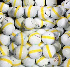 50 Premium Assorted Yellow Striped White Range Practice Golf Balls - Top Quality