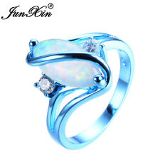 Cute Marquise Cut White Fire Opal S Shape Wedding Ring Blue Gold Women Size 6-10