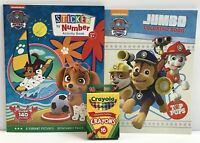 3pc Paw Patrol Jumbo Coloring Activity Book & Sticker By Number Book, 16 Crayons