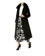 Max Mara ITALY Wool & Cashmere Black Fur Collar Long TRENCH Coat SZ 12