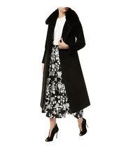 Max Mara ITALY Wool & Cashmere Black Fur Collar Long TRENCH Coat SZ 12
