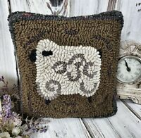 Rustic Hooked Wool Sheep Accent Pillow - Primitive Farm Animal Home Decor