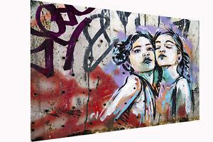 Framed Canvas style two girls stencil  street art graffiti urban licensed image
