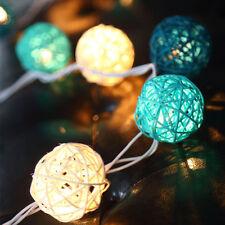 5m Rattan Ball LED String Christmas Wedding Party Fairy Lights Dark Blue White