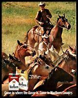 1969 MARLBORO MAN Cowboy Rounding Up Horses Cigarettes Vintage Print Photo AD