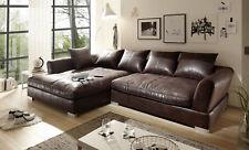Design Couchgarnitur Braun Sofa K-Leder Eck Sofa Wohnlandschaft Megasofa Links