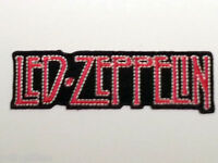 ROCK PUNK METAL MUSIC SEW / IRON ON PATCH:- LED ZEPPELIN RED & BLACK STRIPE