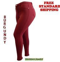 1826 jeans WOMENS sexy PLUS SIZE MOLETON Burgandy SKINNY Stretch Cotton pants