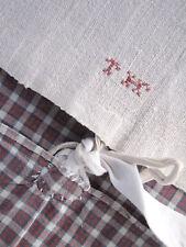 Antique plaid fabric pillow cover Kelsch homespun cotton w/ linen backing 1800s