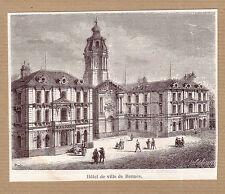 France une vue de l'hôtel de Ville de Rennes gravure ancienne 1884 / KRT121