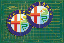 "Alfa Romeo car Logo Rally Touring Car STICKERS 4"" Pair Race Bike Classic"