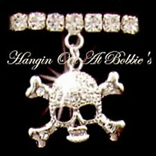 Skull Crossbones Anklet Clear Crystal Charm Dangle Stretch 9 Inch Silvertone