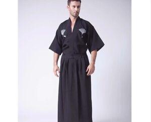 Short Sleeve Japanese Samurai Mens's Male Kimono Black White Robe Martial Arts