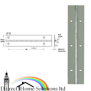 Hafele Continuous Hinge Rolled Straight Piano Open Width 40mm Length 710mm