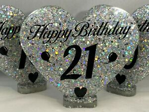 Happy Birthday Heart with the Age, Handmade in Resin and Super Sparkly Glitter