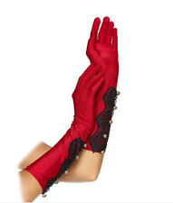 NEW LONG RED GLOVES SATIN LACE BUTTONS LEG AVENUE VICTORIAN EVENING VINTAGE LOOK