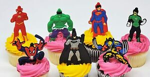 Comic Book Super Hero Birthday Cake, Cupcake Featuring Spiderman, Green Lantern