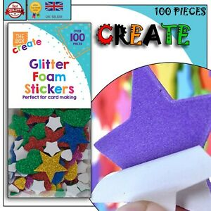 100x Self Adhesive GLITTER FOAM STICKERS Arts & Crafts Love Hearts Stars Pack UK
