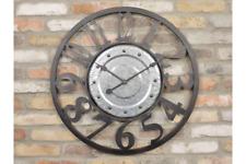 70cm Industrial Metal Wall Clock Black Galvanised Steel Silver Retro Vintage