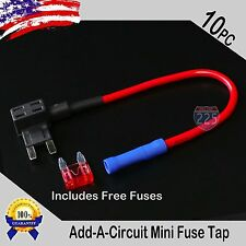10pc 16 Gauge Copper Add-A-Circuit Mini APM ATM Blade Piggy Back Fuse + 1A - 40A