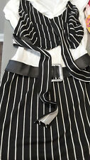 Navy and white striped girls dress with belt