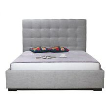 """89"""" King Bed with Concealed Storage Tufted Polyester Headboard Solid Pine Wood"""