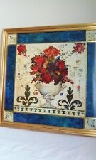 Large Floral Flower Greek Roman Picture Wall Art Print Gold Frame